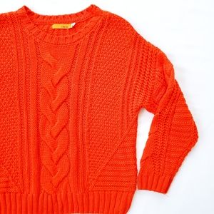 One A Orange Chunky Knit Sweater